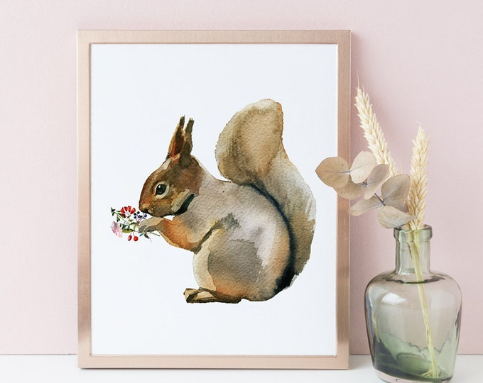 Squirrel Print, Printable Nursery Art, Woodland Nursery Decor