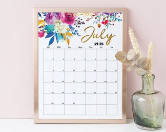 Wall Calendar 2018 2019 PRINTABLE Botanical Floral Calendar Boho Calendar Watercolor Floral Monthly Planner Wall Art Birthday Gift A3