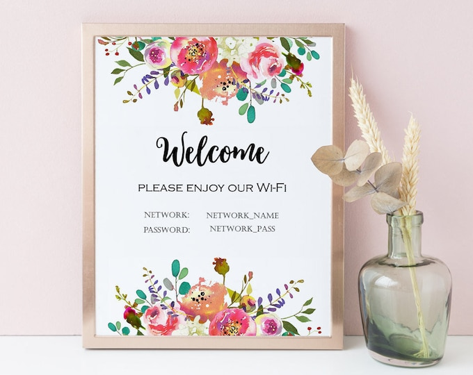 Wifi Password Printable, Wifi Password Sign, Internet Sign Editable Wifi Sign Welcome Guest Room Sign Personalized PDF Floral Wall Art SH-1