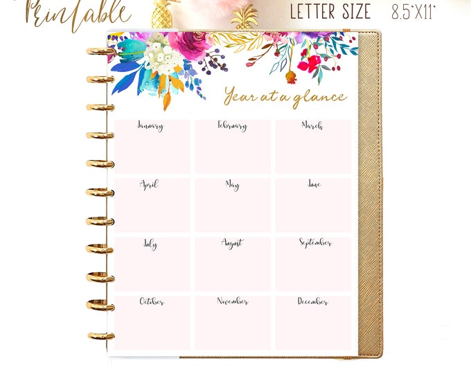 Yearly Calendar 2020 Calendar Big Happy Planner Insert, Letter Size Planner 2020