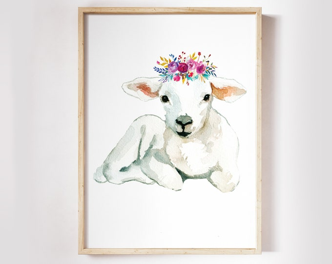 Nursery Wall Art, Baby Lamb Print, Spring Wall Art Print, Baby Sheep Wall Art, Easter Wall Decor, Nursery wall Decor, Lamb wall art
