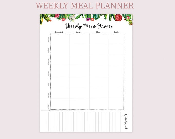 Weekly Meal Planner Printable Cactus Printable Art Botanical Menu Plan Big Happy Planner Inserts