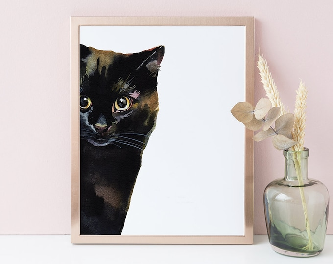 Cat Print Wall Art Print Cat Lover Gift Watercolor Art Black Cat Wall Art Printable Nursery Decor Kids Room Digital Instant Download