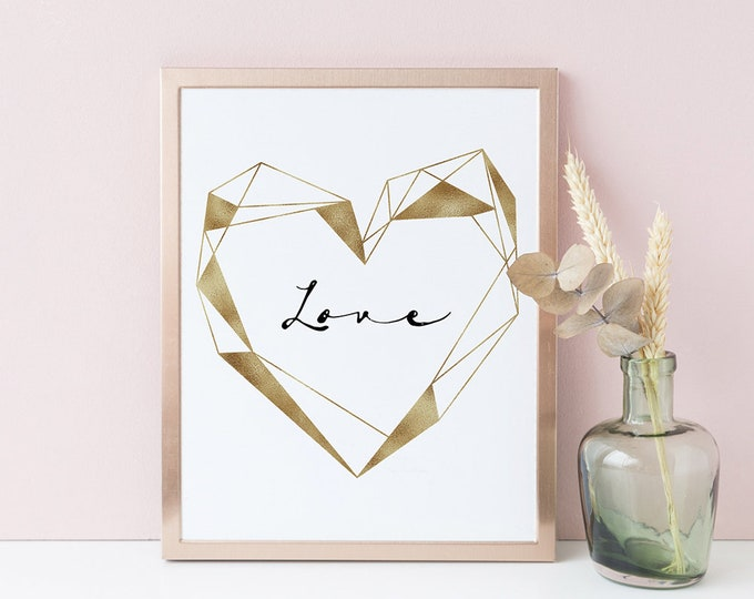 Copper Wall Art Geometric Wall Art Wedding Decor Boyfriend Gift Bedroom Decor Scandinavian Print Printable Art Print Minimalist Print LOVE
