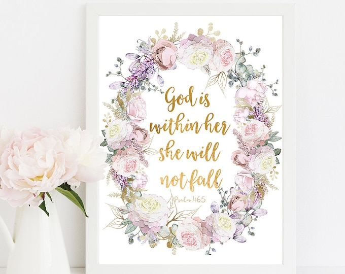 God is Within Her She Will Not Fall Psalm 46 5, inspirational her, Bible Verse Prints RG-1