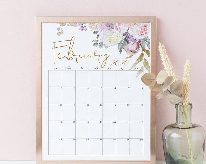 Printable Wall Calendar 2019 - 2020, Floral Wall Calendar 2020 Rose Gold Calendar, RG-1