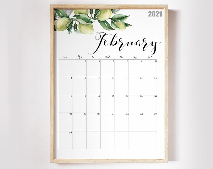 2021 Calendar, Watercolour Calendar 2021, Botanical Wall Calendar Printable