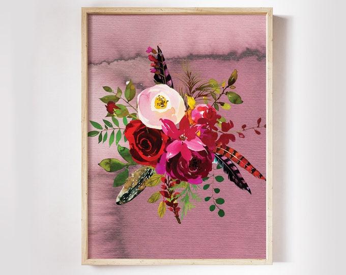 Digital Download Art Boho Botanical Print, Burgundy Floral Wall Art, Wall Printables Watercolor Wall Art Bordo Watercolor Printable Download