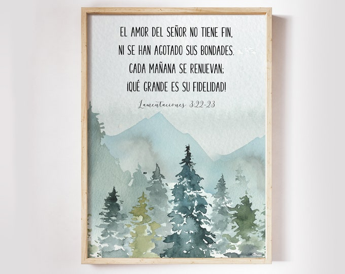 Spanish Decor, Bible Verse Prints, Spanish Wall Art, Spanish Quote, Lamentations 3