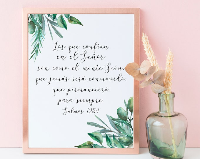 Spanish Bible Verse Print Bible Quote Print, Psalm 125 1, Bible Verse Prints, Christian Wall art, OL-1