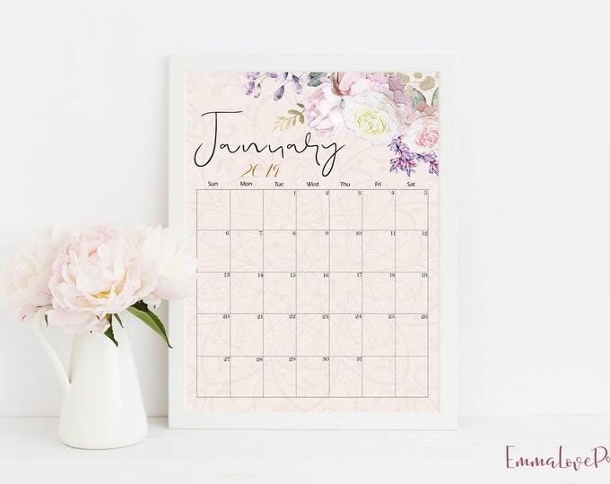 Calendar 2019 Printable Wall Calendar Floral Art vintage White Roses Desk Calendar Monthly Planner 2019 Calendar Watercolor Rose Gold RG-1