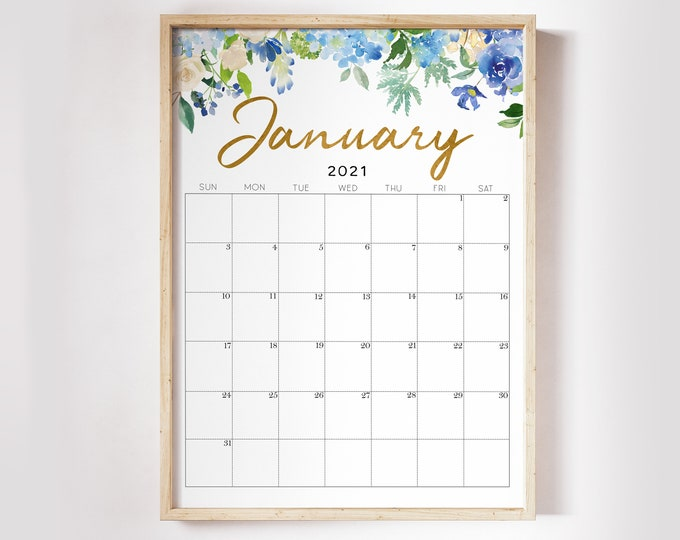 Floral Wall Calendar 2021 Printable, Botanical Calendar 2021, Watercolour Calendar 2021