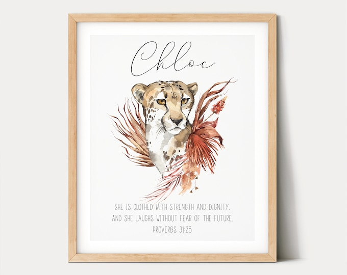 Custom Name Sign, Bible Verse Prints, Safari Nursery Sign, Jungle Wall Art, She is Clothed in Strength and Dignity
