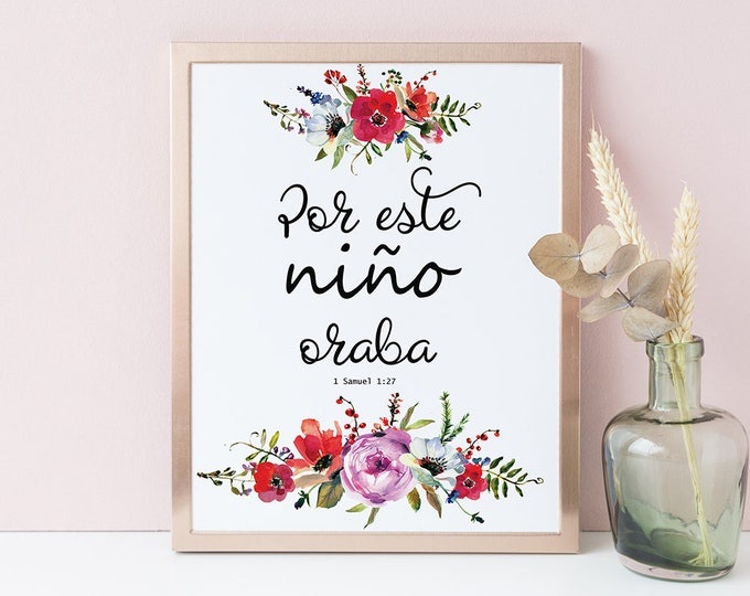 Nursery decor Nursery wall art Spanish Bible Verse Wall Art Printable Baby Shower Quote Print For This Child I Have Prayed 1 Samuel FF-1