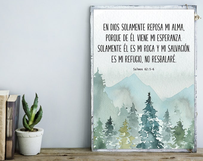 Spanish Print, Bible Verse Print, Spanish Wall Art Print, Psalm 62  My soul finds rest in God