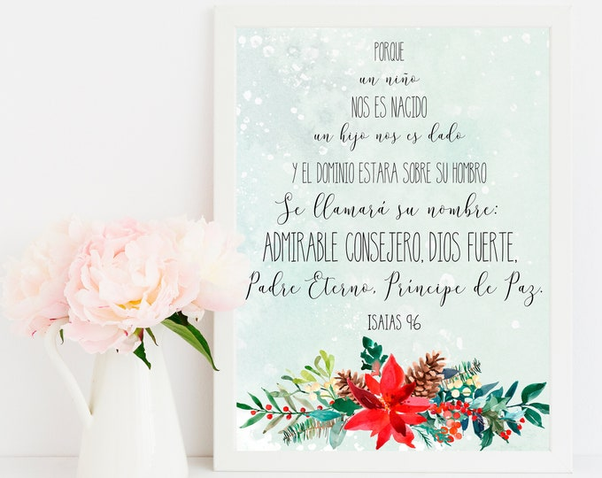 Spanish Prints, For unto us a child is born, Isaiah 9 6, Bible Verse Prints, christmas tree print