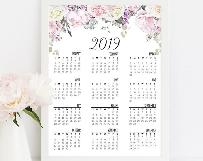 Calendar 2019 For Happy Planner Inserts Printable Happy Planner Cover Floral Wall Calendar 2019 Calendar Watercolor Wall Art  RG-1