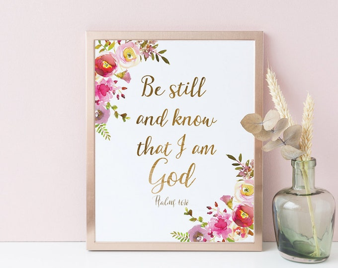 Be Still And Know That I Am God, Bible Verse Prints, Printable Christian Wall Art