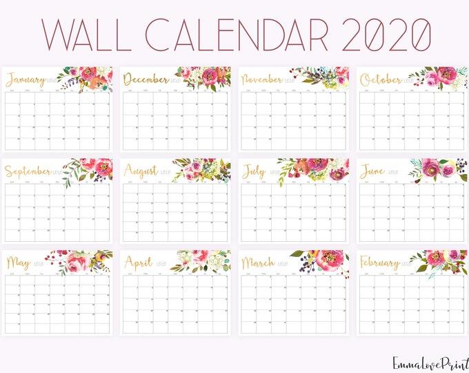 Office Calendar 2020, Floral Wall Calendar 2020, Watercolour Calendar, Printable Calendar