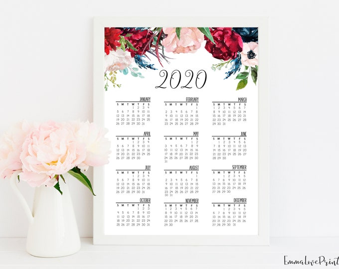 Wall Calendar 2020, Printable Calendar 2020 Desk calendar