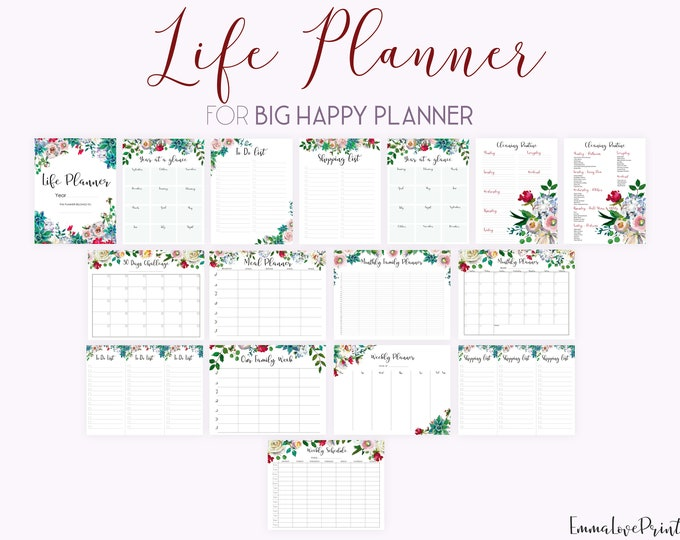 Life Planner Printable Big Happy Planner Inserts Daily Planner 2020