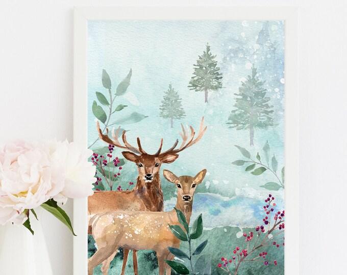 Deer watercolor print, Woodland Print, Printable Nursery Wall Art.