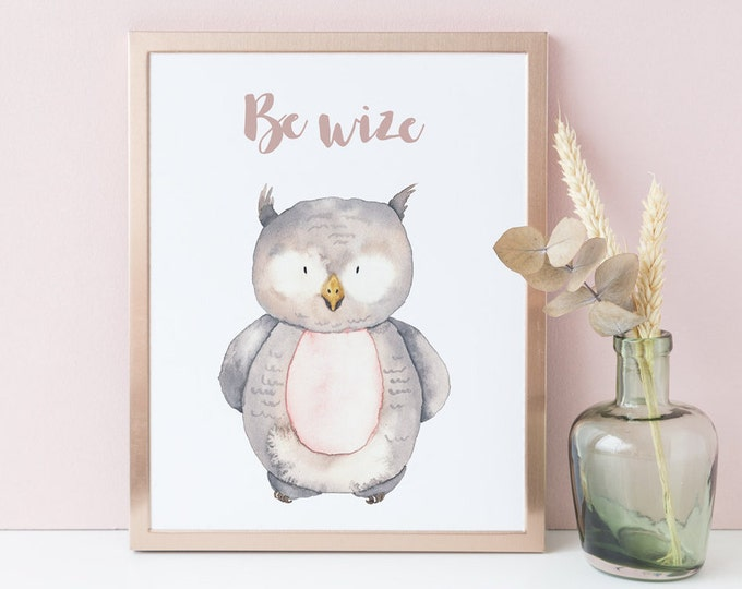Owl wall decor, Woodland Nursery Wall Art Printable, Dorm Wall Decor.