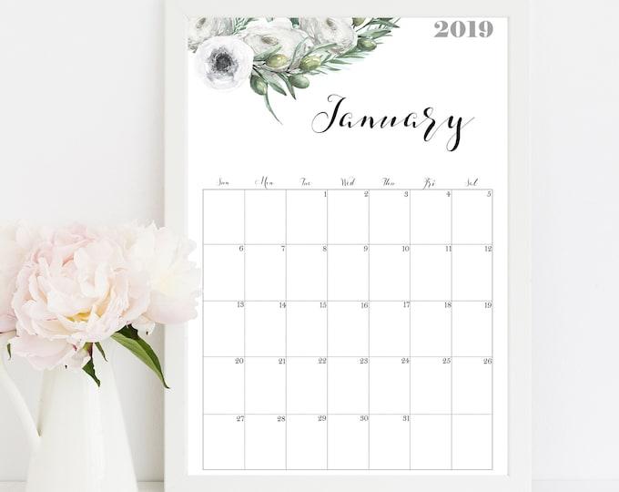 Wall Calendar 2019 Watercolor Wall Calendar, Calendario 2019 Printable olive wreath