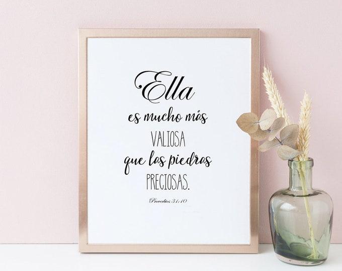 Spanish Wall Art, Bible Verse Prints, She Is Far More Precious Than Jewels, Scripture Prints