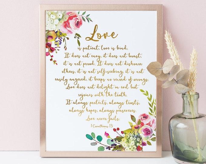 1 Corinthians 13 Print, Love is Patient Love Is Kind, Bible Verse Prints scripture prints SH-1