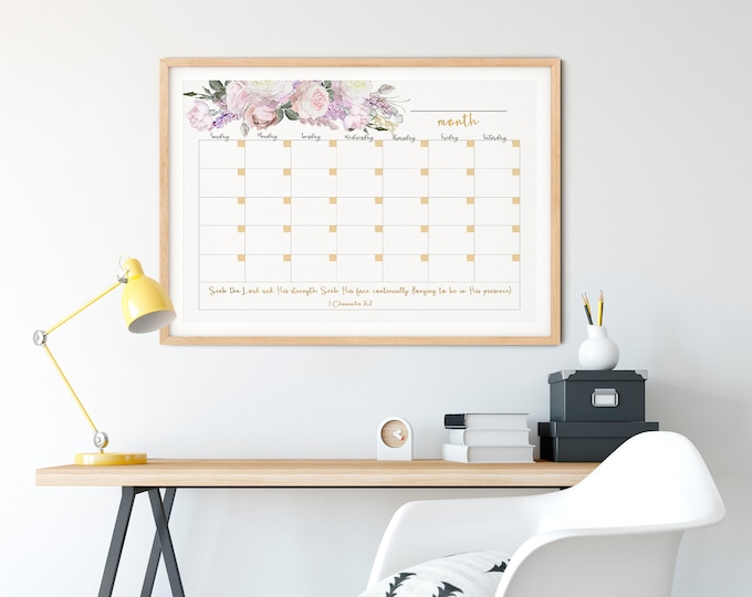 Large Wall Calendar 2020, Memo Board Printable, Botanical calendar, Rose Gold Calendar  RG-1
