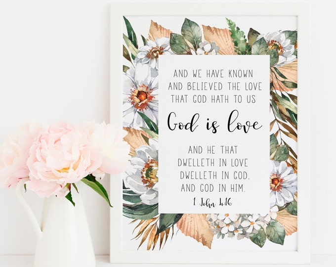 Bible Verse Prints, 1 John 4 16, Africa art print, God is love, Scripture Prints. SA-1
