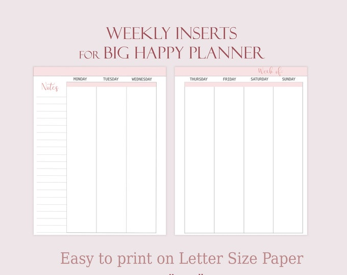 Weekly Planner Pages made to fit Big Happy Planner Inserts Printable