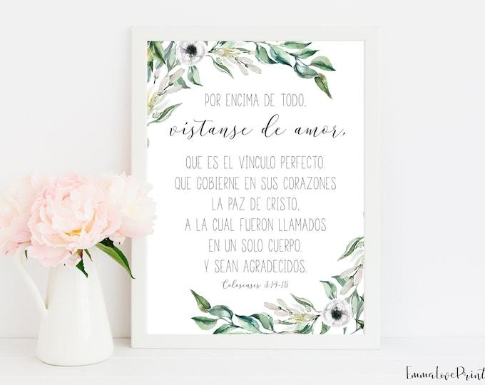 Spanish Bible Verse Prints, Put On Love, Colossians 3 13 15, Scripture  Art Prints OL-1