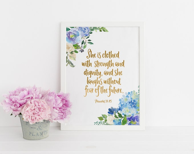 Proverbs 31 25, She is Clothed in Strength and Dignity Scripture Prints, Lilac Print