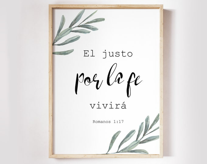 Bible Verse Prints, Spanish Print, Romans 1:17, Spanish Bible Verse OL-1
