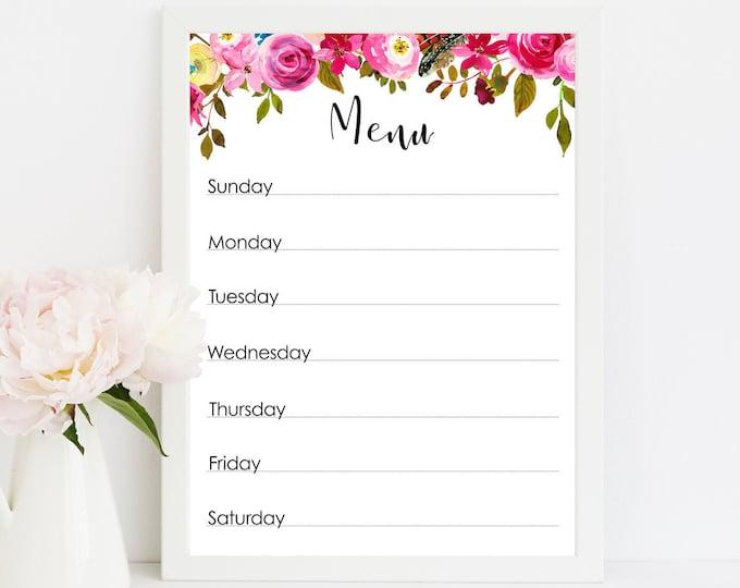 Meal Planner Printable, Menu, Menu Planning, Letter Size Planner