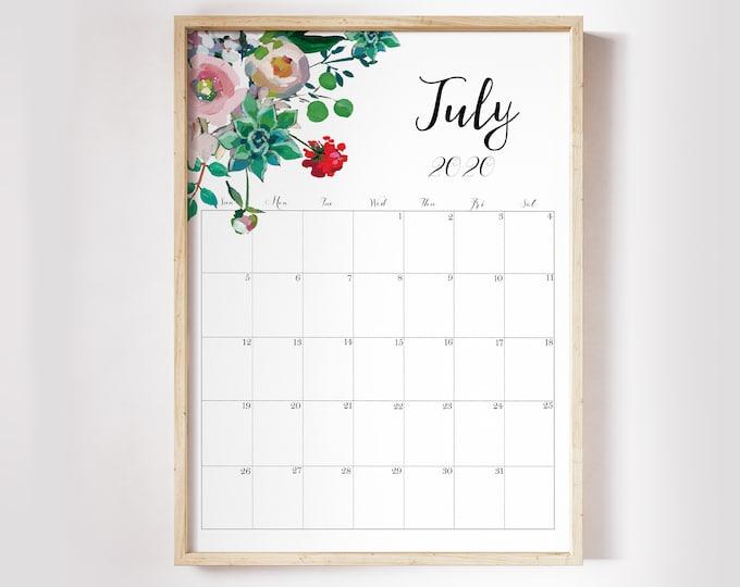 Wall Calendar 2020 Calendar Printable, succulent wall art, Botanical Calendar