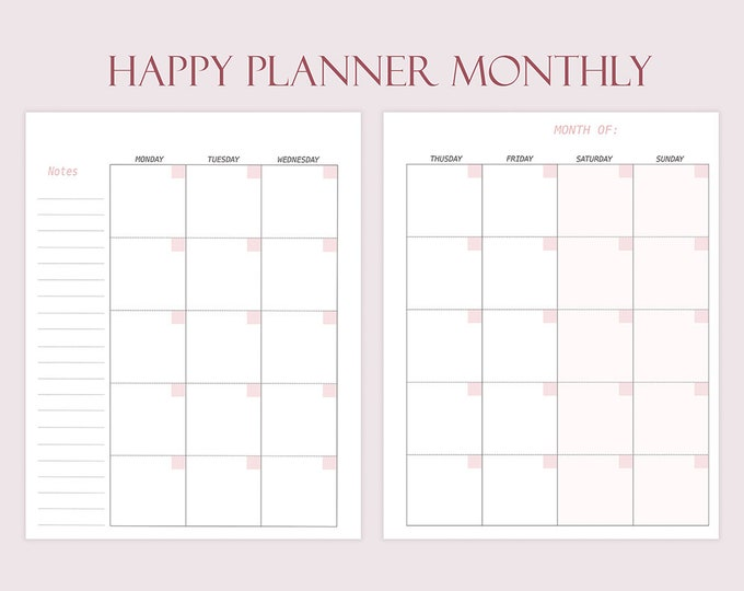 Monthly Planner Made to fit Happy Planner Inserts Printable Monthly Inserts for Happy Planner M02p Monthly Refill Undated Monthly Calendar