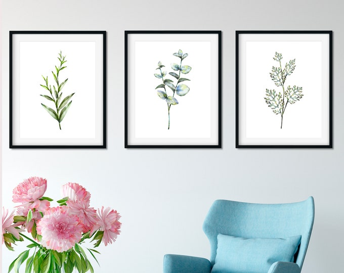Set of 3 Art Prints, Floral Print Set, Botanical Print Set, Dorm Wall Art, Printable Wall Art