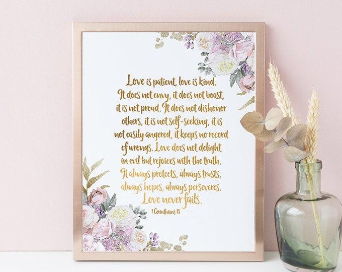 Love is Patient Love is Kind, 1 Corinthians 13 sign, Bible Verse Print, Rose Gold Print RG-1