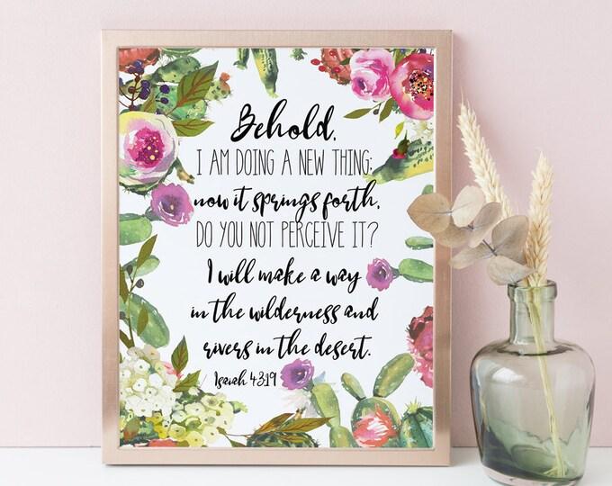 Bible Verse Wall Art Cactus Print Printable Isaiah 43 19, Behold