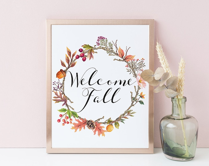 Fall Printable Wall Art Print Autumn Decorations Fall Wreath Kitchen Decor Fall Flower Crown Instant Download Fall Decorations Home Decor