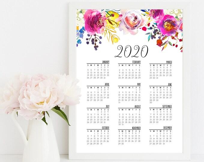 Wall Calendar 2020 Printable Calendar, Floral Calendar 2020 Calendar