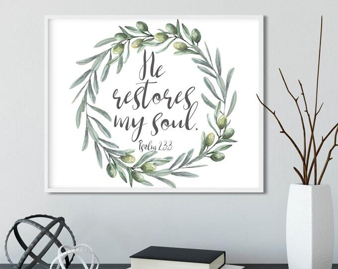 Bible Verse Wall Art Print, Large wall art, Olive Print, Psalm 23, He restores my soul OL-1