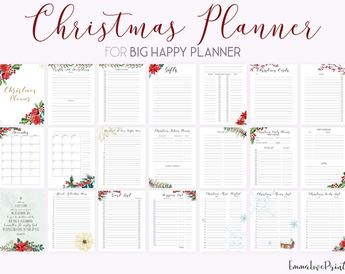 Christmas Planner Kit, Bible Verse Cards, made to fit Big Happy Planner Inserts