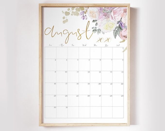 Watercolour Calendar 2020, Floral Wall Calendar 2020 Desk Calendar Printable RG-1