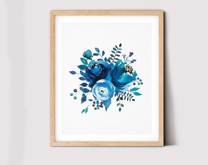 Indigo Printable, Navy Blue Digital Wall Art, Watercolour Art, Indigo Print, Botanical Poster Botanical Wall Art Wall Decor Instant Download