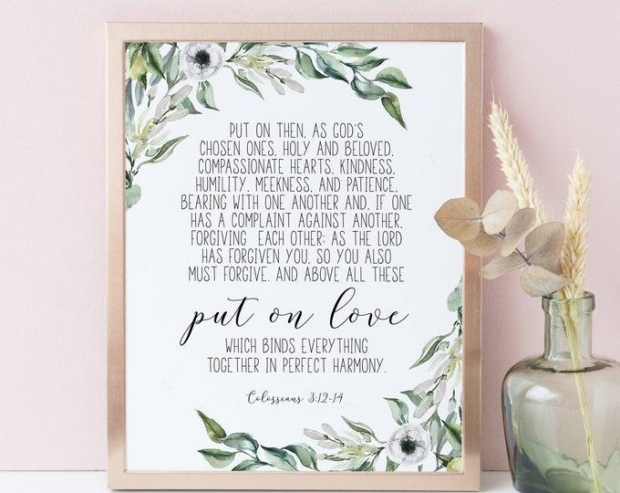 Bible Verse Prints, Put On Love, Colossians 3:12 14, Olive Wreath, Scripture Prints botanical print vintage OL-1