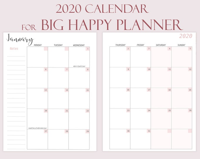 Monthly planner 2020 Made to fit Big Happy Planner Inserts 2020 planner